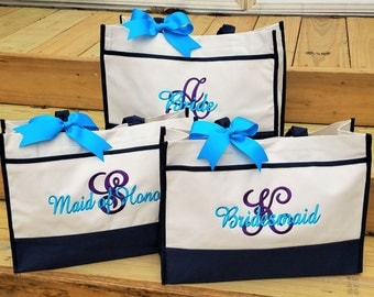 Set of 8 Bridesmaid Bags Bridesmaid Tote Personalized Bridesmaid Bags