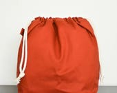 knitting project drawstring bag - large - rust
