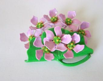 Vintage Violet Flower Cart Enamel Metal Brooch / Lavender / Green / Lilac / Floral Bouquet / Jewelry / Jewellery