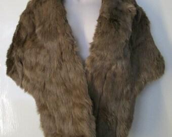 Vintage 1950s Honey Beige Fur Cape Capelet Stole Scarf Tippet Wrap