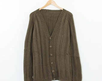 SALE Vintage Brown Cable Knit Acrylic Blend Long Knitted Cardigan Large UK 16 1814