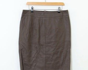 Vintage 80's 90's Soft Brown Retro Lined Leather Pencil Skirt Large UK 16