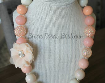 Fabulous Peach Chunky Bubblegum Necklace, Bubblegum Necklace, chunky necklace