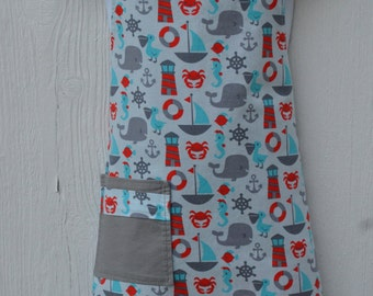 Little Boys Aprons, Seaside Little Boy Apron, Ready to Ship, Reversible in Red