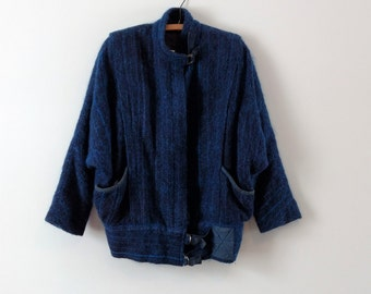 SALE Vintage 1980s mohair wool jacket, blue wool jacket, small, medium