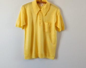 Vintage 1960s yellow polo shirt, vintage knit shirt, men's mod shirt, short sleeve shirt, small, medium