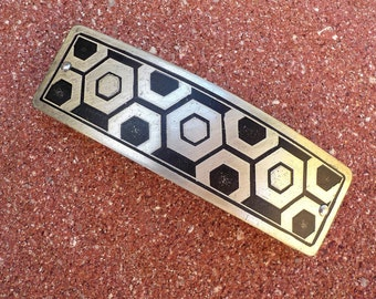 Hexagons.  Large Men's Silver Hair Clip.  Hand etched artisan hair clip with hexagonal design on antiqued silver.
