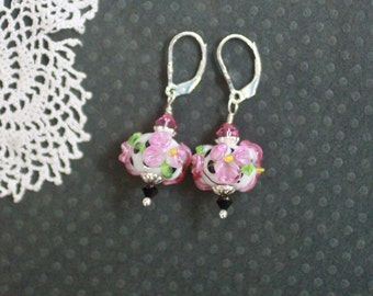 Lampwork Bead Earrings, Lampwork Jewelry, Handmade Pink Floral Beads, Black and White Polka Dot, Sterling Silver