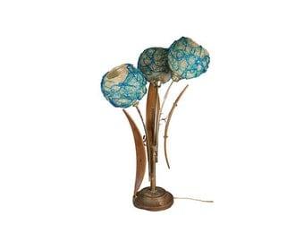 Vintage Spaghetti Spun Lamp - Mid Century Modern Table Lamp, 3 Globe Eames Lucite Resin Lamp, Teak Walnut Danish Modern Lamp, Atomic Ranch