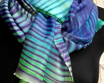 Hand Dyed Shibori Style Silk Scarf in Turquoise, Teal, Lime, Deep Purple, Emerald Green