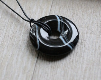Black Agate Pi Stone 30 mm  Donut with Cord V