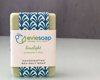 limelight - pinecone + lime - Sea Salt Soap, Handcrafted Vegan Soap, Cold Process Soap, Handmade Soap, EvieSoap, Palm Free Soap
