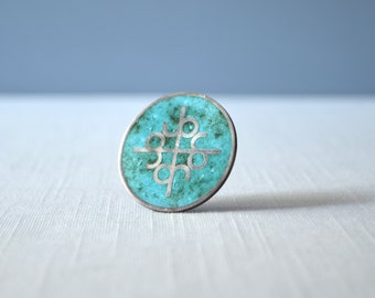 Vintage Turquoise and Sterling Inlaid Brooch