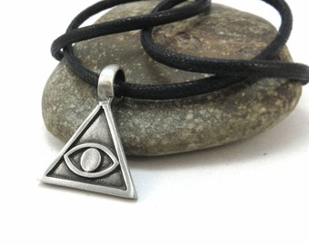 All Seeing Eye Pendant, Illuminati Necklace with Faux Leather Cord