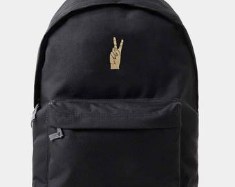 Black 'Peace Out' Backpack Rucksack by Art Disco