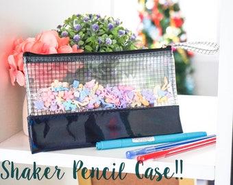 Black shaker pencil case , shaker makeup bag, shaker cosmetic bag, fun size, back to school gift, back to school pencil bag, see through bag
