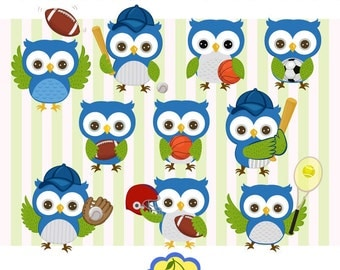 Sports owls clip art set-Blue and green,Sports Owls Digital Clip Art Set, Owls Digital Clip Art Set-Personal and Commercial Use