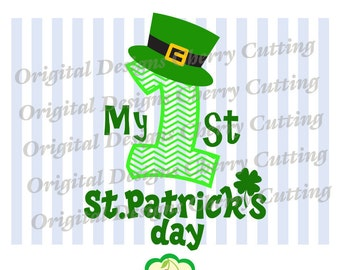 My 1st St.Patrick's day, St.Patrick's day Number 1 Silhouette Cut Files, Cricut Cut Files STP02-Personal and Commercial Use