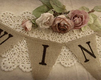 Rustic Wine Burlap Banner, Wine Party Garland, WINE Sign Garland,  Rustic Country, Wedding Party Decoration, Photo Prop