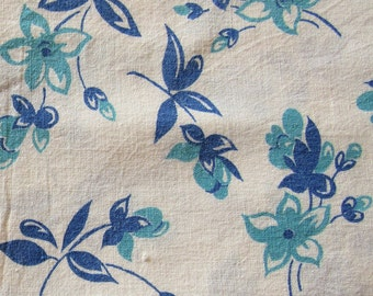 vintage FULL feed sack fabric -- shades of blue floral print