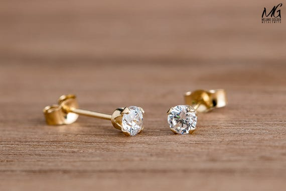 CZ Gemstone Stud Earrings in Solid 14K Yellow Gold