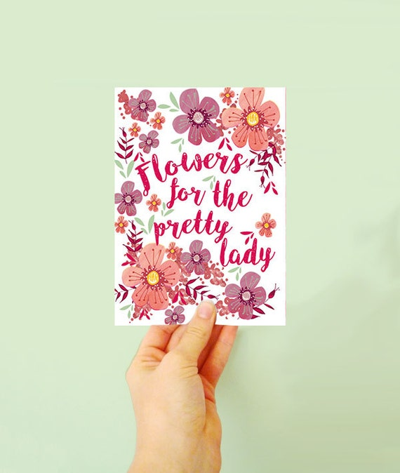 Pretty floral card - Anniversary card - Flowers for her - card for her - jolly pink