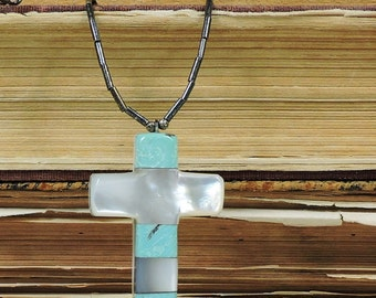 Vintage Turquoise, Mother of Pearl and Soapstone Cross