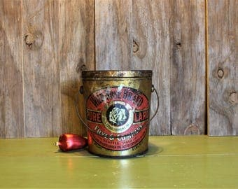 Large Tin Bucket Wild Rose Brand Pure Lard Frye Bruhn Co Home Decor Vintage 1900s (C)