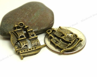 6 Ship Charms 21x16mm Antique Bronze Tone Metal, Pirate Ship, Pendants, Detailed Design - BP13