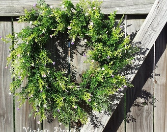 """Spring Garden Wreath 24"""" Handmade Pink Lavender White Blossoms Whispy Custom Design Cottage Style French Country Shabby Chic Farmhouse Decor"""