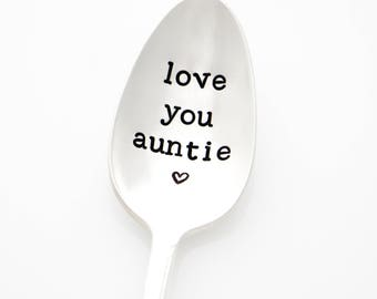 Mothers Day Gift for Aunt. Love You Auntie. Stamped Spoon for coffee or tea. Aunt Gift from Niece or Nephew. Personalized aunt, aunty.