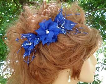 Bridal Hair Comb, Royal Blue Hair Comb, Wedding Hair Comb, Any Color, REX17381