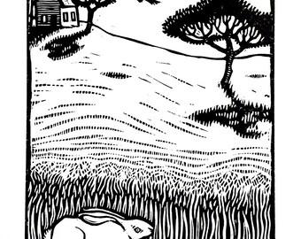 Tall Grass - Linocut on paper - Kathleen Neeley