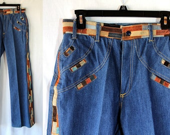 1970s Frederick's of Hollywood Patchwork Denim Bell Bottom Jeans Hippie Boho