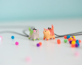 Choose Your Neon Cat Necklace / Tabby Cat