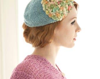 Vintage 1930s knit hat, blue beanie cap Byrdana fascinator 1920s