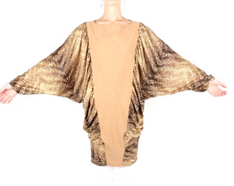 Incredible 80s Glam Disco Draped Bubble Sleeve / Batwing Dolman Wing Slv Animal Tiger Print Mini Dress / Top