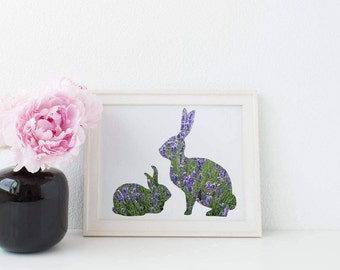 Rabbit Printable: Digital Download, Lavender, Spring Print, Spring, Digital Download Print, Flowers, Photograph. Lavender Rabbits
