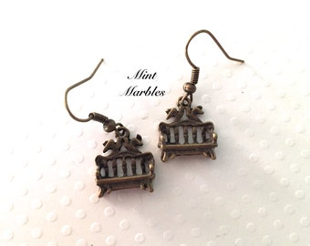 The Smallest Bench Earrings. Tiny Brass Benches. Lovebirds. Love. Romance. Take a rest! Relax. Day in the Park. Bench Earrings. Under 10