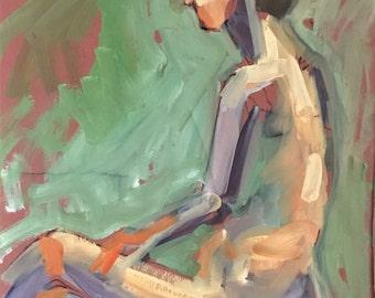 Original oil painting-Original art-Figure sketch-Life study-Nude female-Fine art-Affordable wall art-Expressive art-Art on paper-Colorful