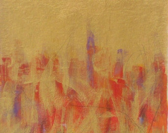 Strange Fire - acrylic original contemporary abstract painting matted Maine artist Free Shipping