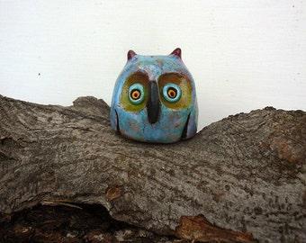 Mini Owl Sculpture Figurine,  Handmade Ceramic Fantasy Animal Art, Whimsical Cute Animal Sculpture, Shiped in One Day.
