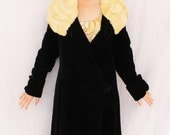 Fabulous 1920s 1930s Black Velvet and Ermine Fur Collar Opera Coat SIZE SMALL