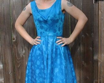 Adorable 1950s 1960s Brilliant Blue Brocade Dress Shortened Hemline SIZE SMALL