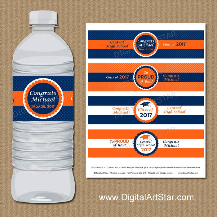 Personalized Graduation Water Bottle Labels College