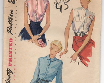 1940's Simplicity Sleeveless Blouse Pattern - Bust 32 - No. 3092