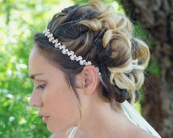 Rose Gold Headpiece,Rose Gold Wedding Headpiece,Rose Gold Bridal Headband,Herring Bone Crystal Rhinestone Headband,Sparkle Bridal Headband