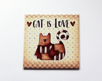 Cat is Love Magnet, Fridge magnet, Magnet, Gift for cat lover, Kitchen Magnet, Cat Fridge Magnet, Cat Lover, Cat Magnet, Loves Cats (7242)