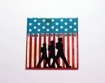 Thank you for your service Magnet, Fridge magnet, Memorial Day, Stars and Stripes, US Military service, Veterans Day, red white blue (7402)