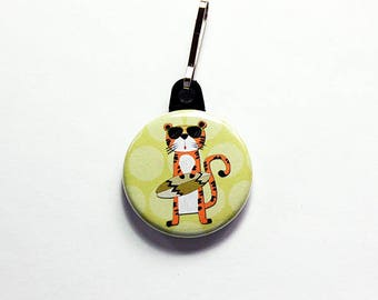 Tiger Zipper charm, Tiger Zipper pull, gift for child, Stocking stuffer, backpack zipper pull, Green, Tiger with Surfboard, orange (7626)
